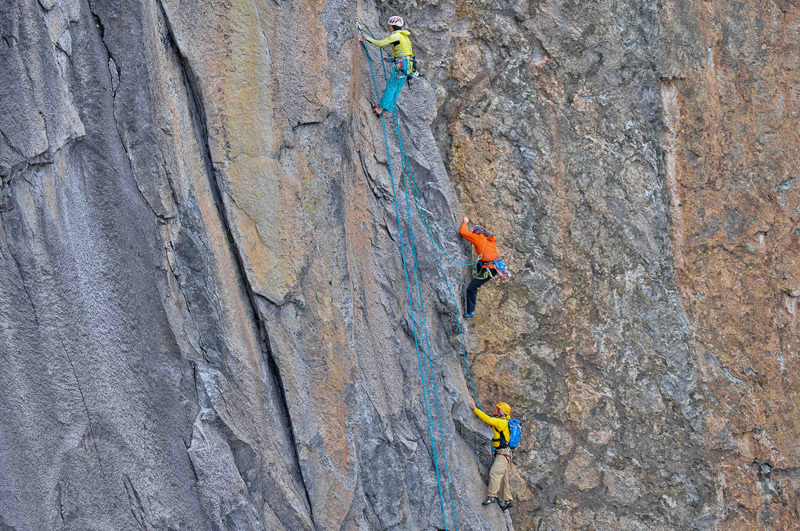 Caroline Ciavalidini, Yuji Hirayama and James Pearson on the route Metis E6, James Pearson archive