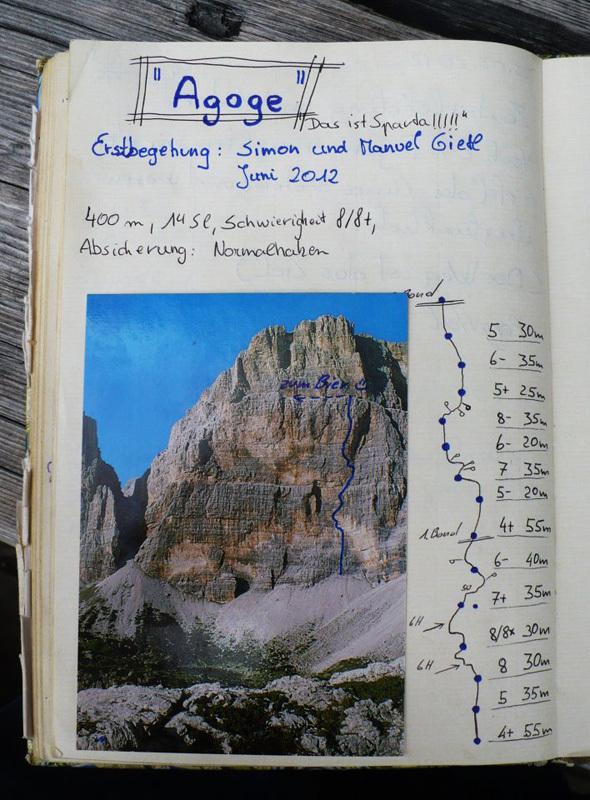 Il 26/06/2012 Simon Gietl e suo fratello Manuel hanno completato Agoge (8/8+,400m), una nuova via di arrampicata sulla Cima Scotoni in Dolomiti., Simon Gietl