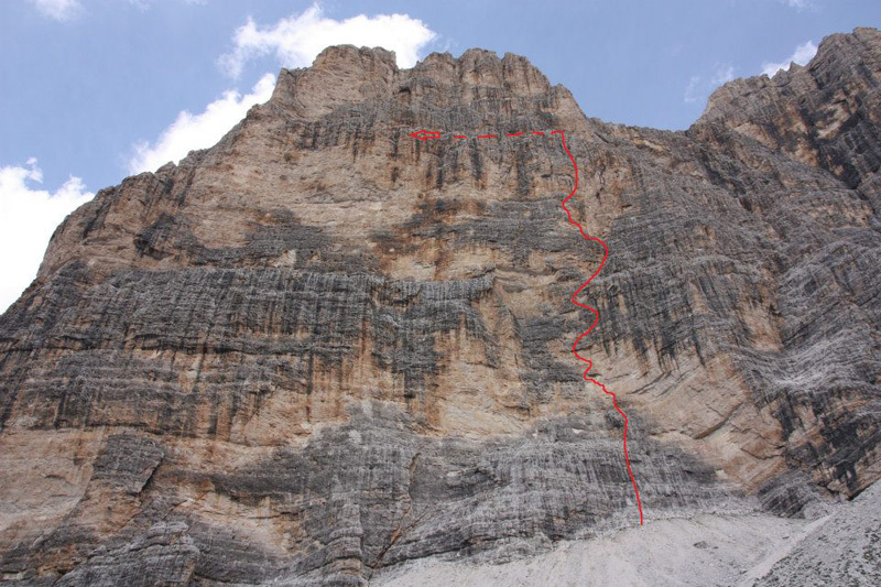On 26/06/2012 Simon Gietl and his brother Manuel completed Agoge (8/8+,400m), a new route up Cima Scotoni in the Dolomites., Simon Gietl