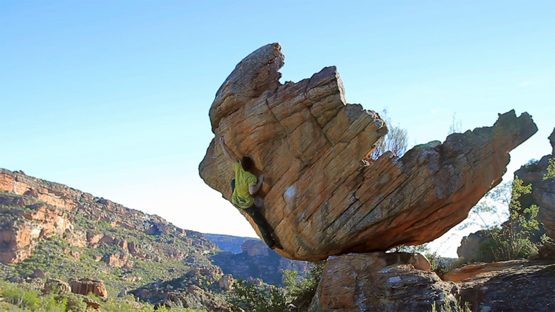 Michele Caminati sending the boulder problemThe hatchling FB8A, Rocklands, South Africa, Clement Pedrotti