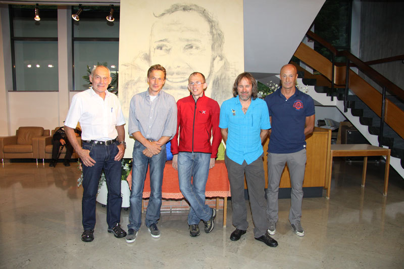 The Jury of the Karl Unterkircher Award 2012: Dr. Oswald Oelz (President), Ivo Rabanser, Carlo Caccia, Christoph Hainz and Silvio Mondinelli.,