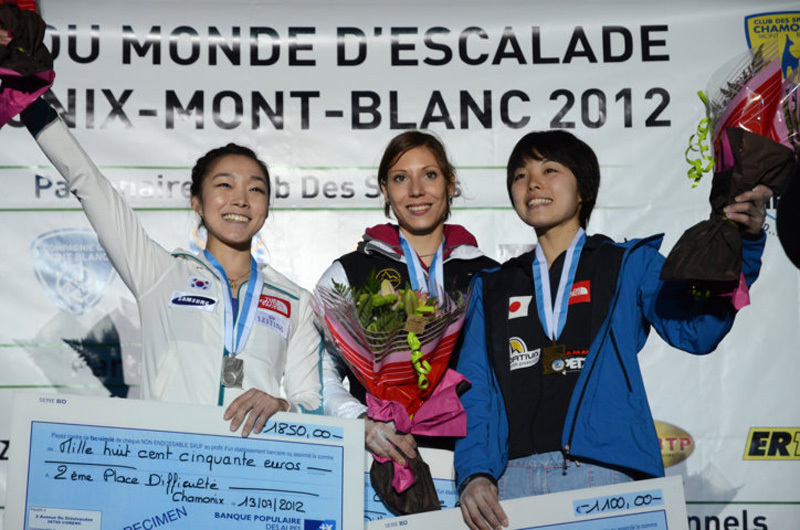 The first stage of the Lead World Cup 2012 at Chamonix: Jain Kim, Mina Markovic & Momoka Oda, Lucio de Biase