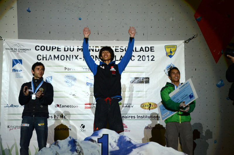 The first stage of the Lead World Cup 2012 at Chamonix: Ramón Julian Puigblanque, Sachi Amma & Sean McColl, Lucio de Biase