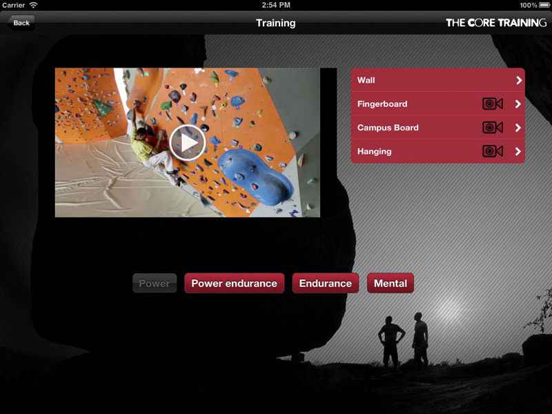 The training dedicated to climbing and bouldering by Christian Core., Christian Core