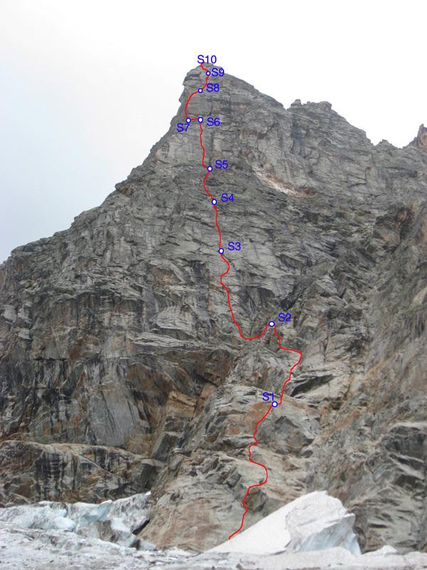 Mont Greuvettaz, Mont Blanc range: Mandorlita (6b+ - 6a obbl. 460m, Marco Farina, Francesco Canale, Elia Andreola 08/2011), Marco Farina