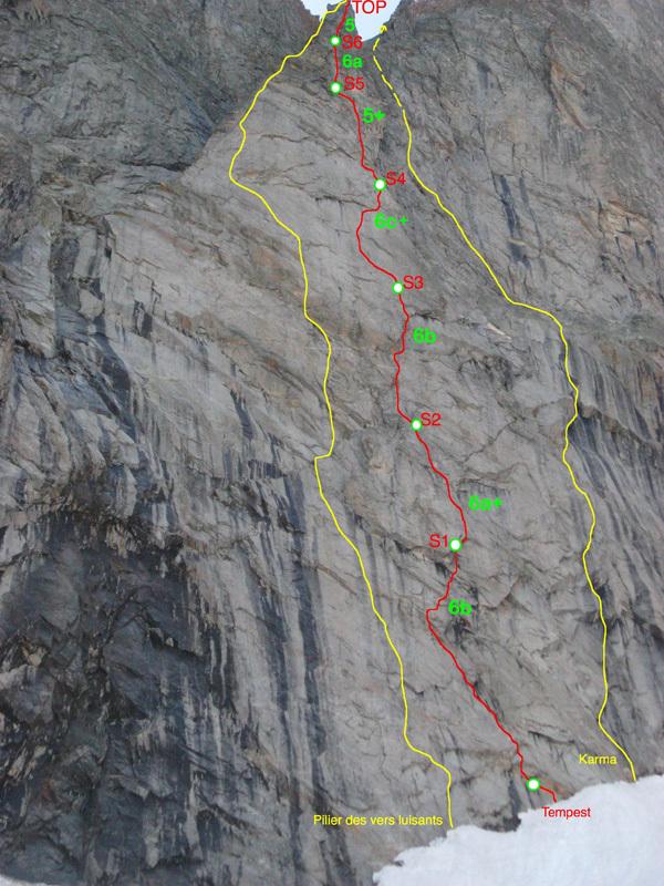 Mont Greuvettaz, Mont Blanc range: Tempest (6c+, 6b obbl. 270m, Marco Farina, Francois Cazzanelli, Rémy Maquignaz 08/2012)., Marco Farina