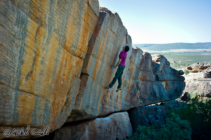Michele Caminati in mid flight on the aptly named Leap of Faith, Rocklands, South Africa, Michele Caminati