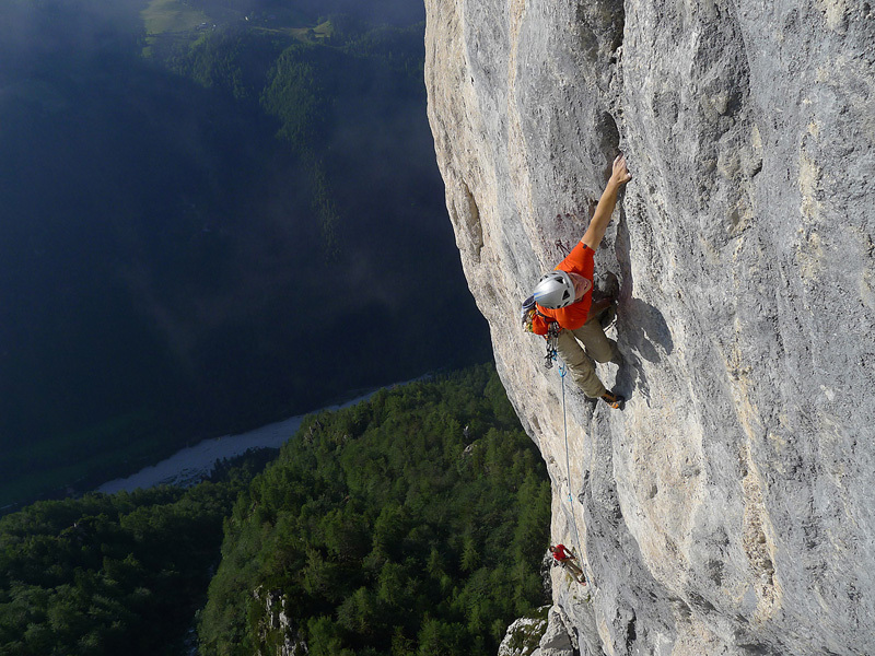 On 17/06/2012 Luka Lindič and Andrej Grmovšek completed the first ascent of Rajčeva (8a, 250m) up the North Face of Križevnik in Slovenia.