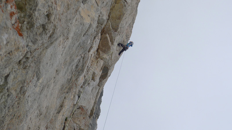 Mayan Smith-Gobat and David Falt during their July 2012 repeat of Donnafugata sulla Torre Trieste, Civetta, Dolomites, David Falt