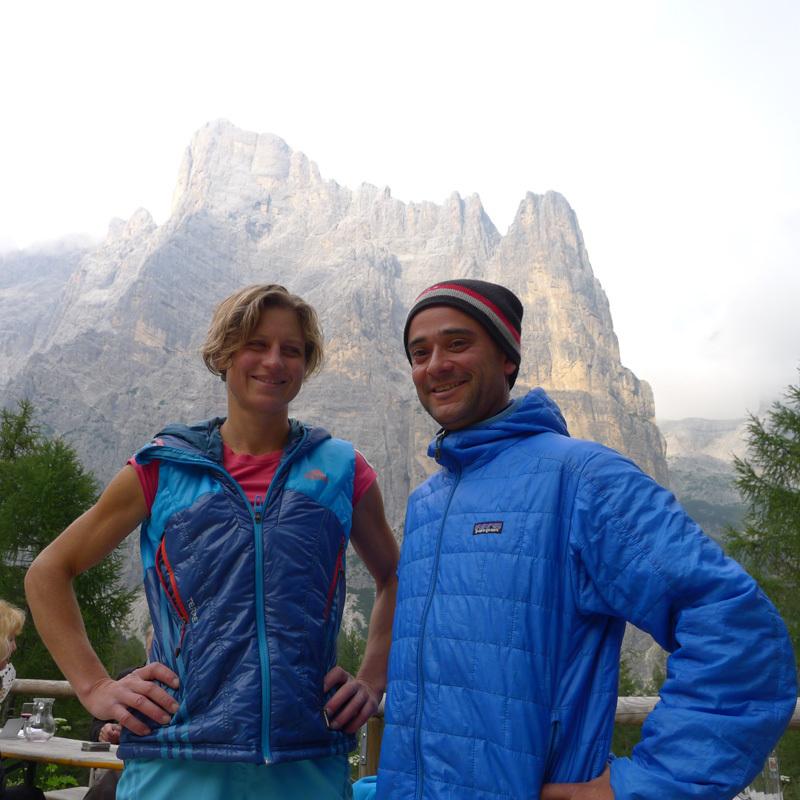 Mayan Smith-Gobat e David Falt dopo la ripetizione di Donnafugata sulla Torre Trieste, Civetta, Dolomiti, David Falt