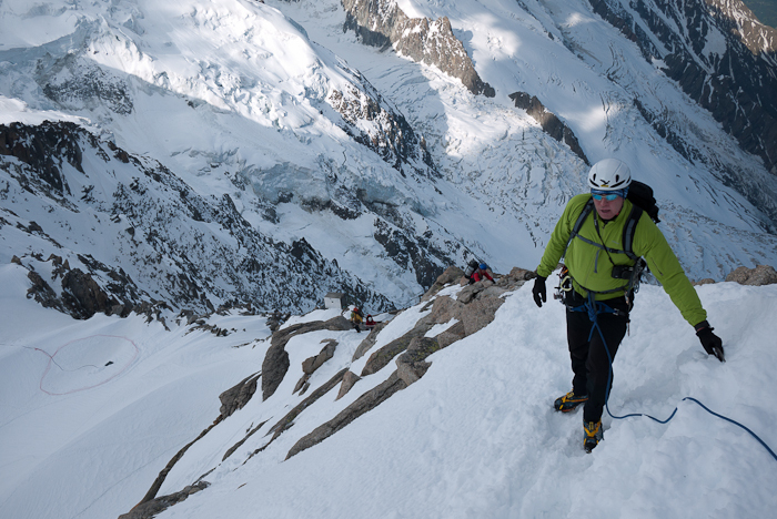 Giovanni Senoner on the first section of Arête des Cosmiques, Alberto De Giuli
