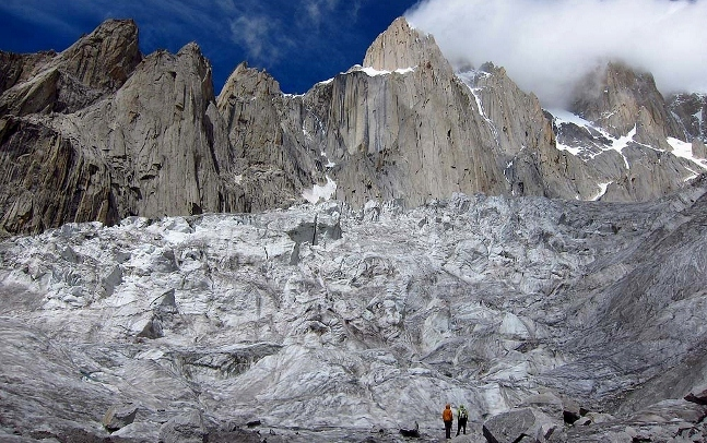 Kyle Dempster, Hayden Kennedy and Urban Novak have established a new route up the unclimbed East Face of K7 (Karakorum, Pakistan)., Urban Novak / www.friko.si