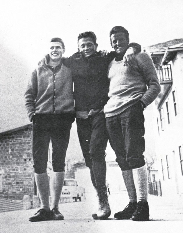 R. Messner, S. Mayerl and H. Messner after the first winter ascent of North face of Monte Agnèr in 1968.,