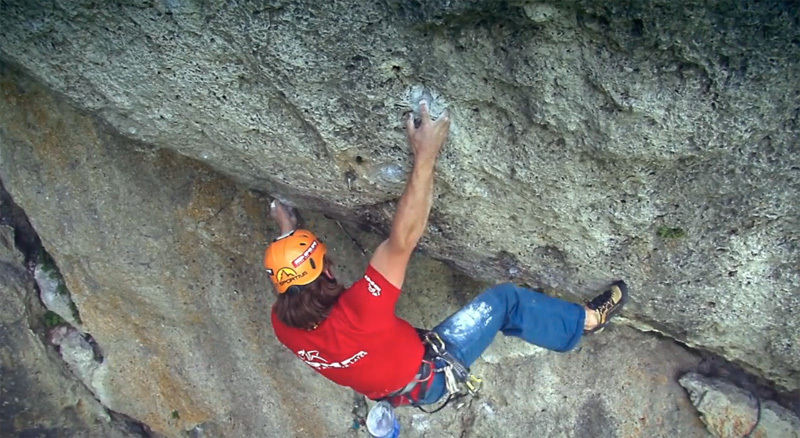 Heiko Queitsch greenpointing the famous Magnet. Freed by Kurt Albert in the Frankenjura, in 1982 this route was considered one of the hardest climbs in the world., 2rays Productions