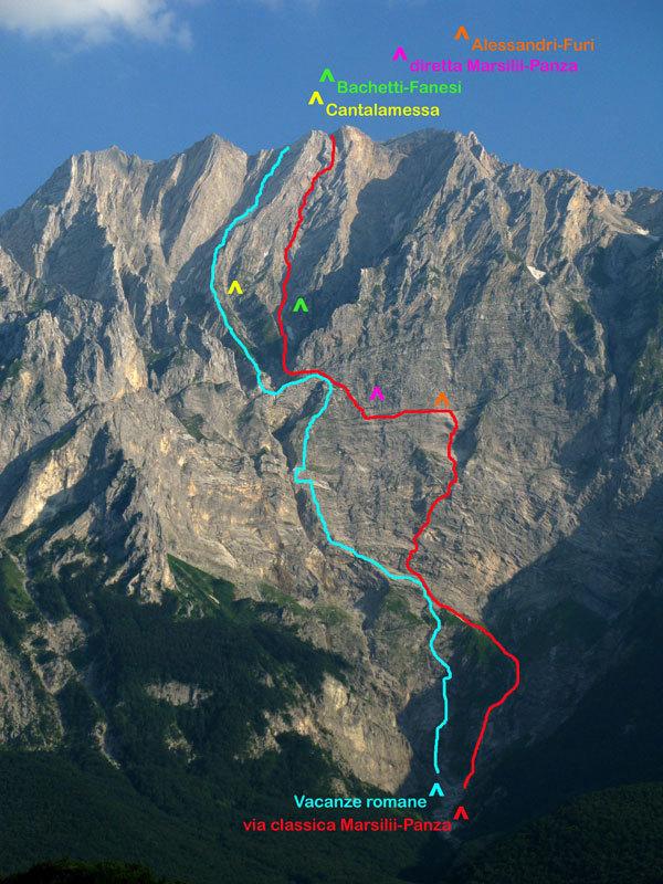 Tracciati parete Nord Monte Camicia (Gran Sasso)., archivio A. Di Pascasio, E. Pontecorvo