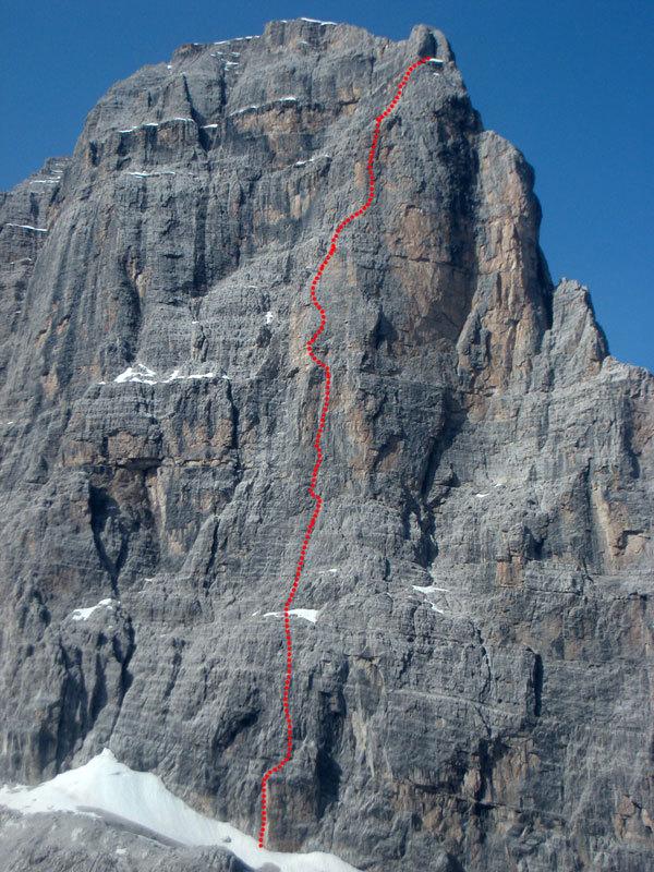 Tracciato di I Tre Giganti, parete NE Crozzon di Brenta, archivio Ermanno
