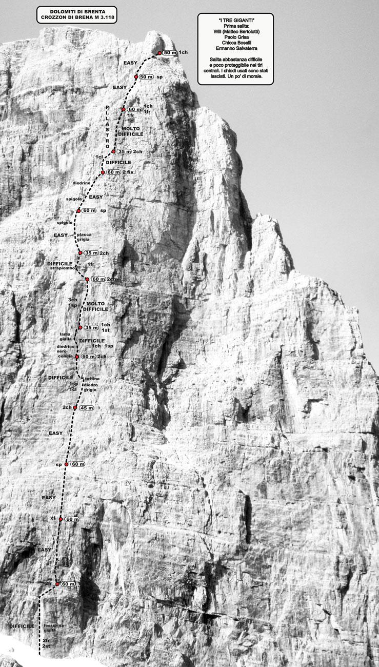 Schizzo de I Tre Giganti, parete NE Crozzon di Brenta, archivio Ermanno
