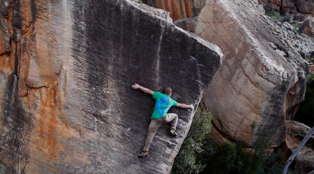 Nalle Hukkataival bouldering at Rocklands, South Africa, Clement Predrotti