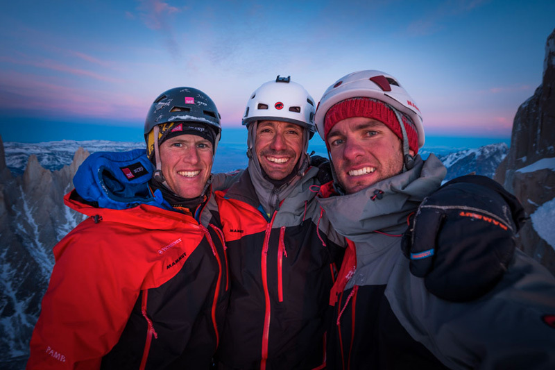 Stephan Siegrist, Ralf Weber and Thomas Senf on the summit of Cerro Standhardt after their winter 2012 ascent., visualimpact.ch / Thomas Senf
