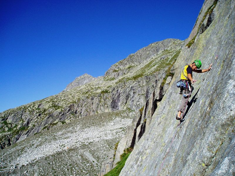 Cristian Brenna on pitch 1 of Via Gotica, Val Salarno, Adamello mountain chain., Carlo Codenotti