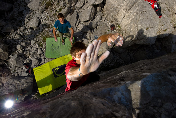 Bouldering at the Blaueisgletscher, Berchtesgarden, Germany, Claudia Ziegler