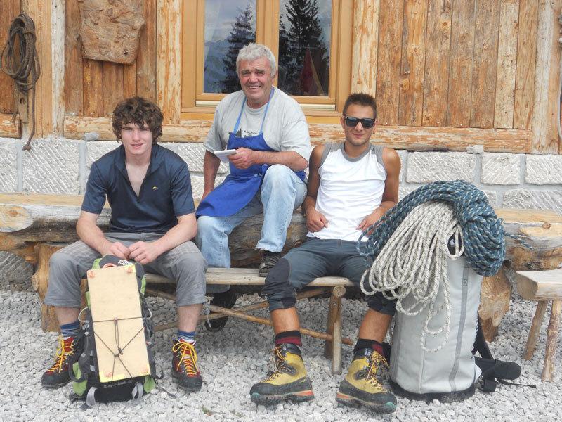 At Baita dei Cacciatori, Cima dell Auta with hut warden Rino Da Rif, Giorgio Travaglia
