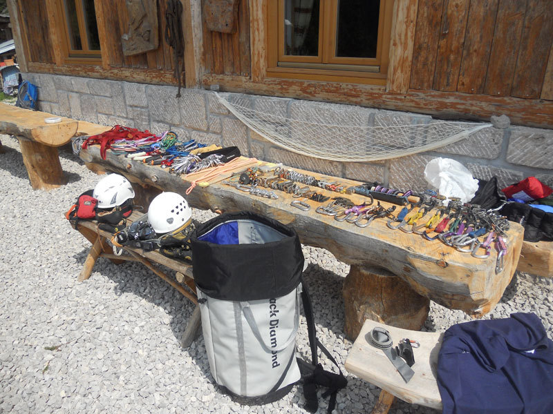 The gear needed for Pilastro Parmenide, Cima dell Auta, Dolomites, Giorgio Travaglia