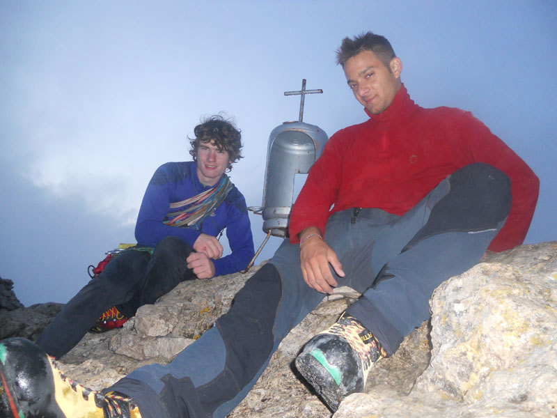 Stefano Valsecchi and Giorgio Travaglia on the summit of Pilastro Parmenide, Giorgio Travaglia