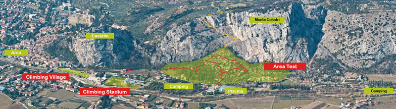The map of the Arco Rock Master Festival, with the Climbing Stadium, Climbing Village and Test Area ,
