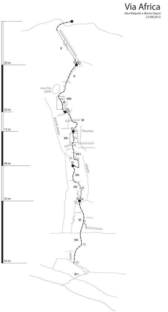 Schizzo Via Africa, Torre delle Mesules Est, Dolomiti, archivio M. Dejori, A. Walpoth
