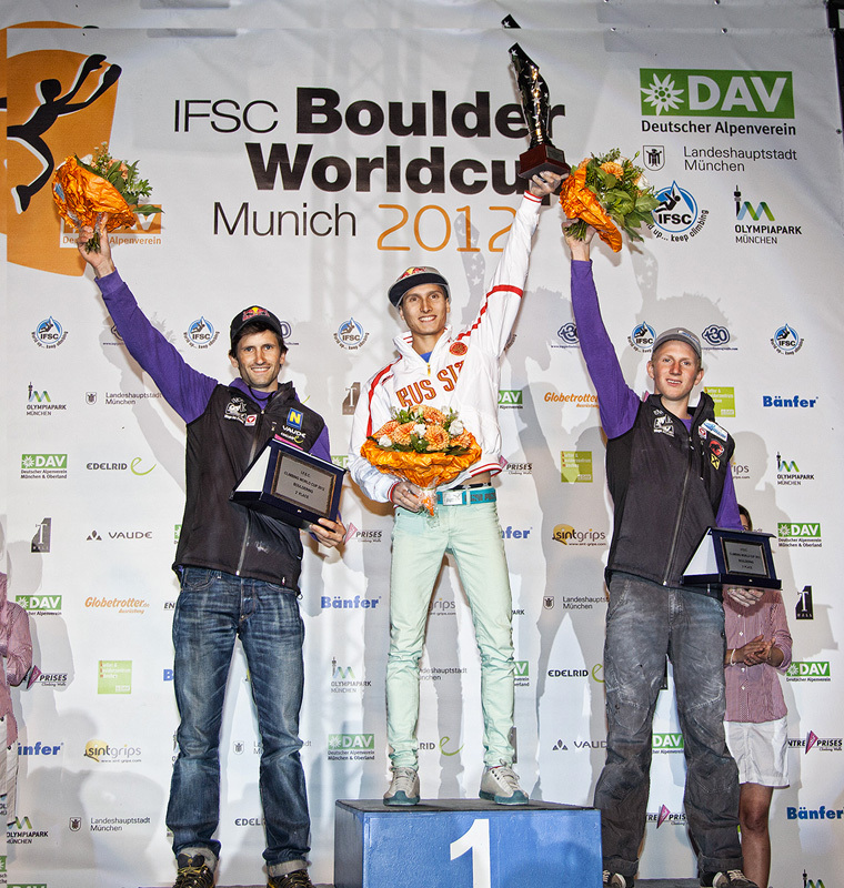 The winners of the Bouldering World Cup 2012: Kilian Fischhuber, Rustam Gelmanov and Jakob Schubert, Heiko Wilhelm