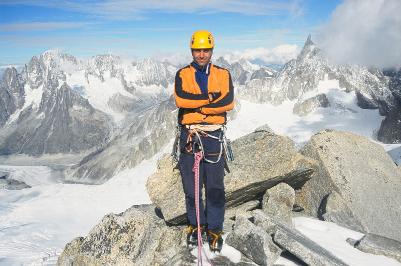 Dogan Palut in 2004 on the summit of  Tour Ronde, Mont Blanc massif., archivio Dogan Palut