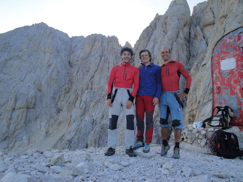 The first ascent team of Compagni dai campi e dalle officine, Gran Sasso, Corno Grande, vetta Occidentale, Luca D'Andrea