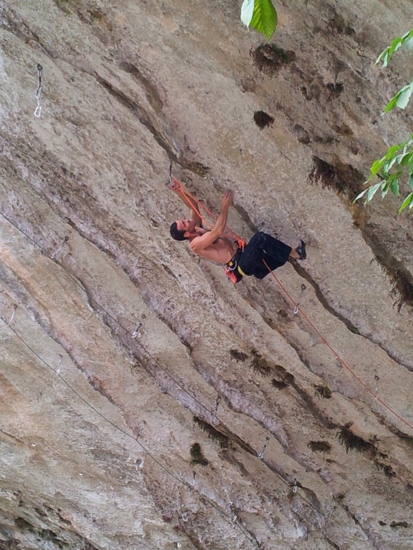 37-year-old Matteo Gambaro climbing Abyss 9a at the Gorges du Loup, France., Matteo Gambaro