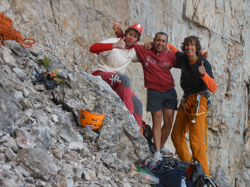 Silvestro and Tomas Franchini at the base of the wall with Alin, Franchini