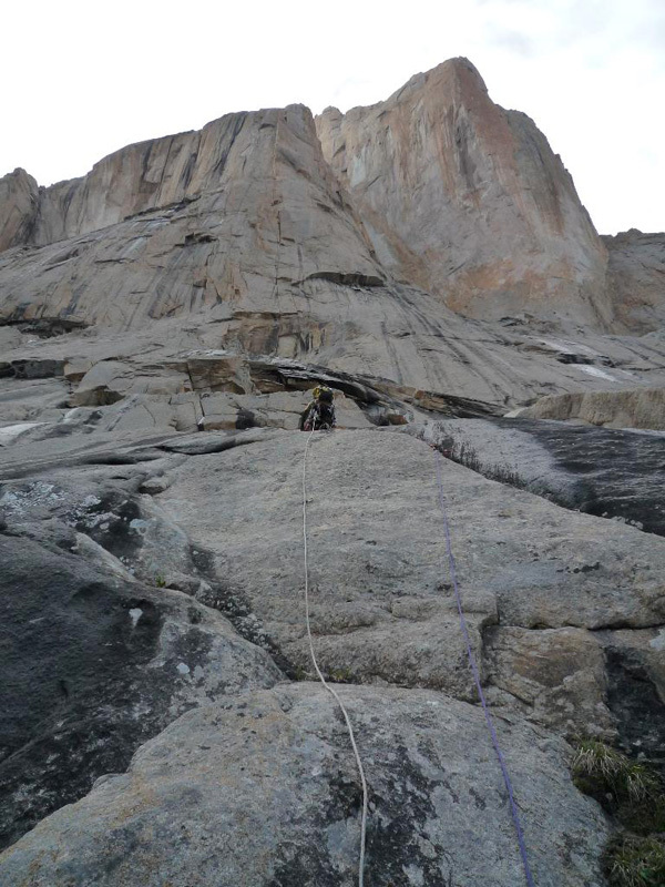 New route attempt by Dodo Kopold and Michal Sabovcik. The entry slabs on day 2., Dodo Kopold