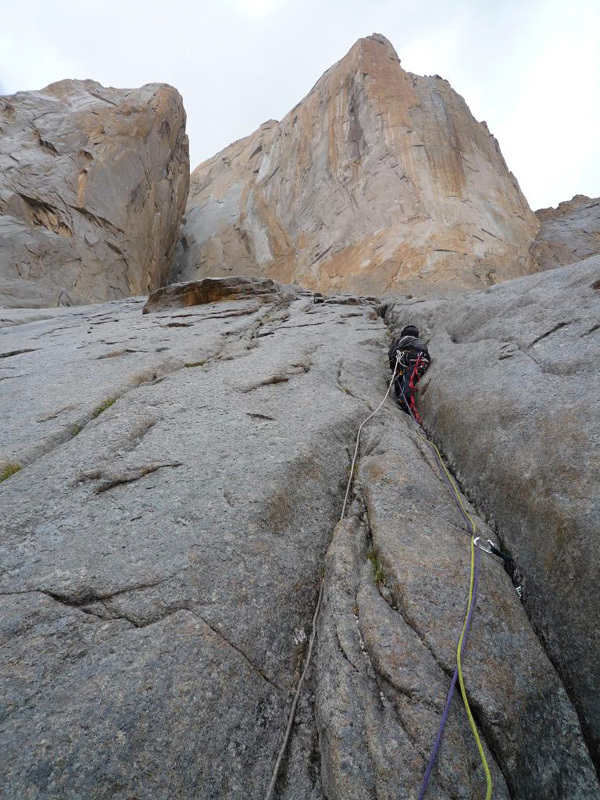 New route attempt by Dodo Kopold and Michal Sabovcik. Climbing in the rain., Dodo Kopold