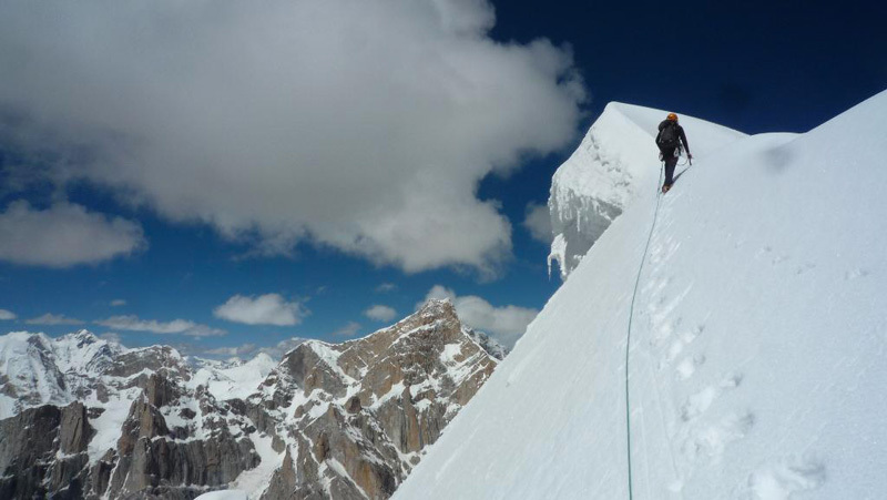 New route attempt by Dodo Kopold and Michal Sabovcik.The summit, two days later, via the North Ridge, Dodo Kopold