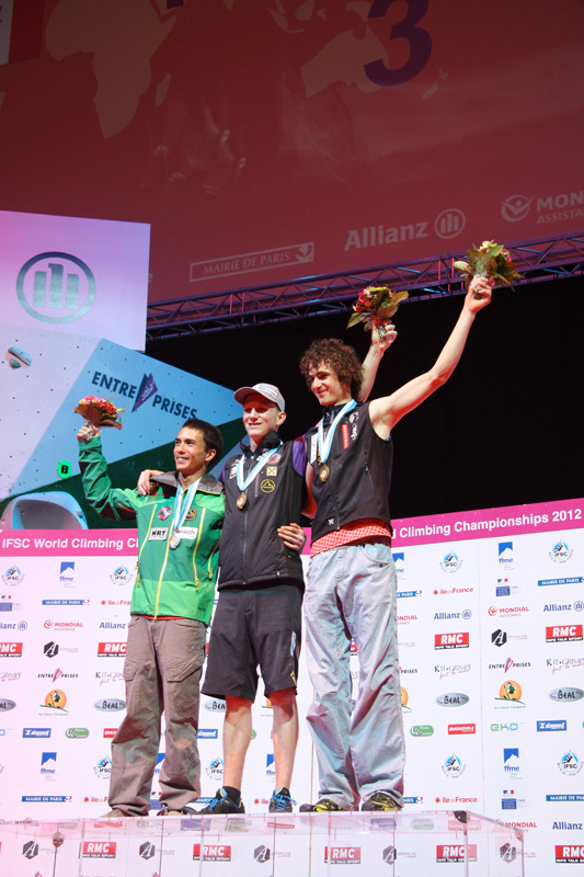The men's Lead podium: Sean McColl (silver), Jacob Schubert (gold), Adam Ondra (bronze)., Franz Schiassi