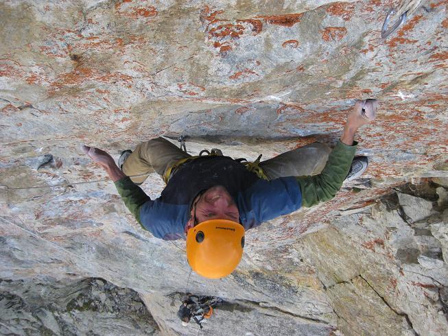 Toni Lamprecht climbing Come animali nella bolla dei temporali, Corno Stella., Toni Lamprecht
