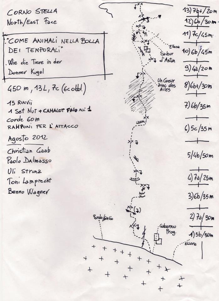 Come animali nella bolla dei temporali, Corno Stella. 7c, 6c obbl., 450m, Christian Gaab, Uli Strunz, Benno Wagner, Toni Lamprecht, Paolo Dalmasso, 08/2012., Toni Lamprecht
