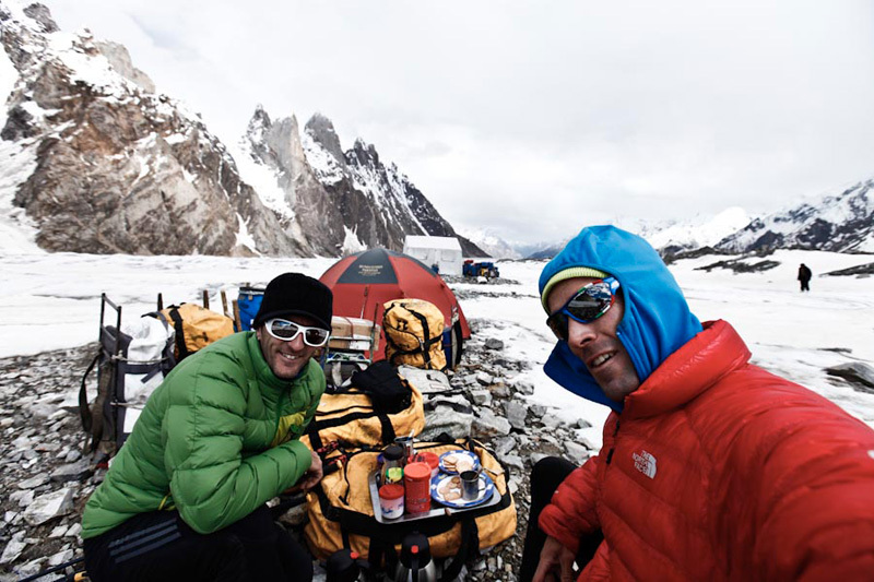 Hervé Barmasse and Daniele Bernasconi on the Biafo glacier, Barmasse & Bernasconi
