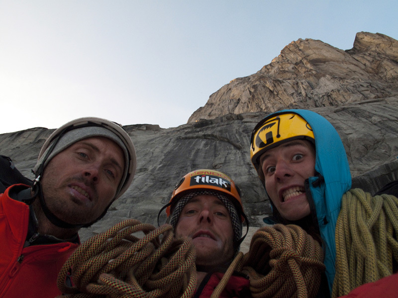 Greenland, Tasermiut Fjord: Tomas Brt, Vlado Linek e Jan Smolen below their new route Turbo, Ketil South Face., Brt, Linek, Smole