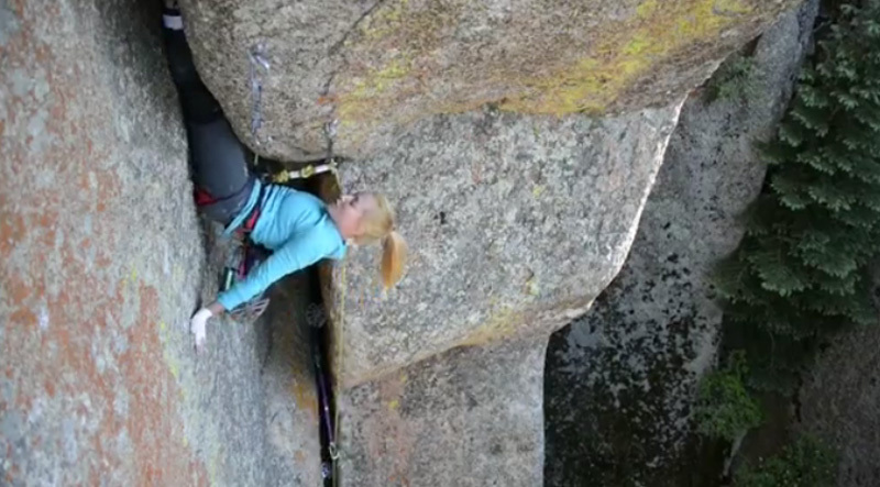 Pamela Shanti Pack climbing The Forever War, Vedauwoo, USA.,