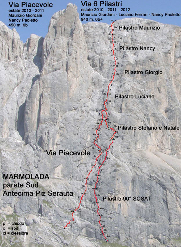 Route topo of Via Piacevole (left) and Via dei 6 Pilastri (right) up the South Face of Anticima del Piz Serauta, Marmolada, Dolomites.,