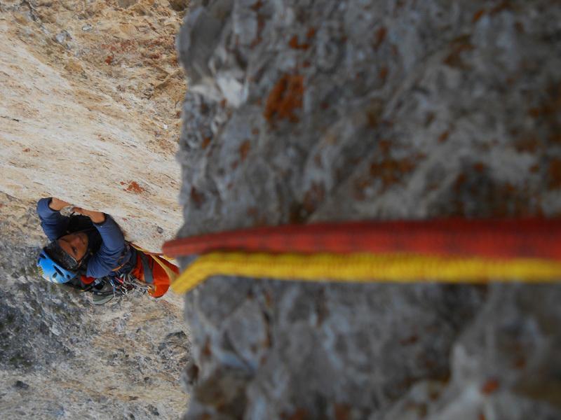 Il giorno dopo prima via insieme delle Dolomiti cicloarrampicando! (Via dei bambini, Torre di Mezzaluna), Ernesto Benfari & Christian Sega