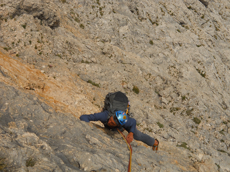 A few days later we're drawn to another line, this time a black streak up the South Face of Mittlere Graslitenspitze. The rock is good and the new route is almost complete..., Ernesto Benfari & Christian Sega