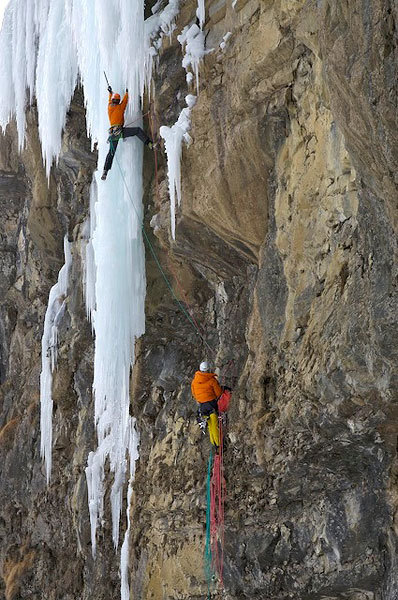 Robert Jasper & Bernd Rathmayr during the first ascent of Almdudler, M 9+/10-, 350m, Kandersteg, Switzerland, Klaus Fengler