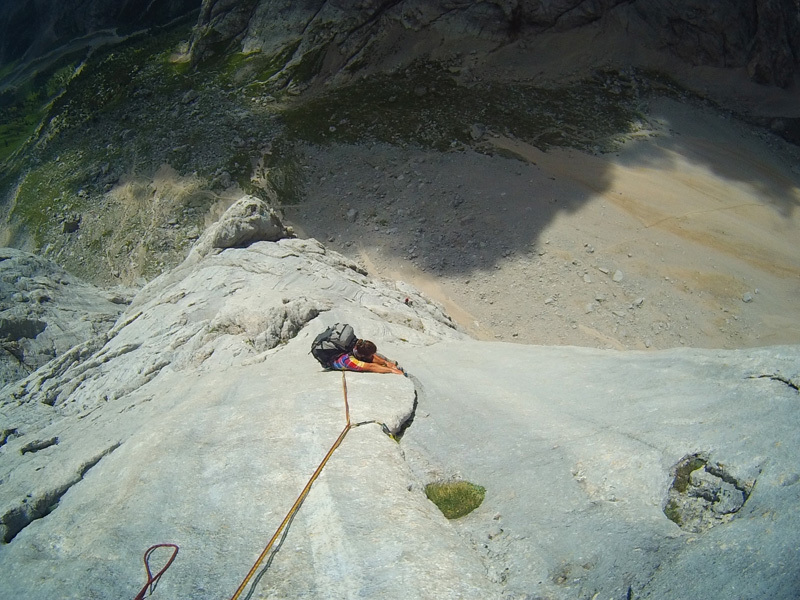 Christian Sega on the famous ninth pitch of Tempi Moderni, Marmolada, Ernesto Benfari & Christian Sega