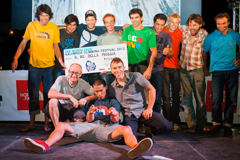 Awards Project Competition. Front row: Iker Pou, Yuji Hirayama, Jonathan Siegrist. Back row: Hansjörg Auer, Sam Elias, Kilian Fischhuber, Gabriele Moroni, Dani Andrada, Andre Neres, Alexander Megos, Nicolas Favresse, Michael Fuselier.  , The North Face ® / Chris Boukoros